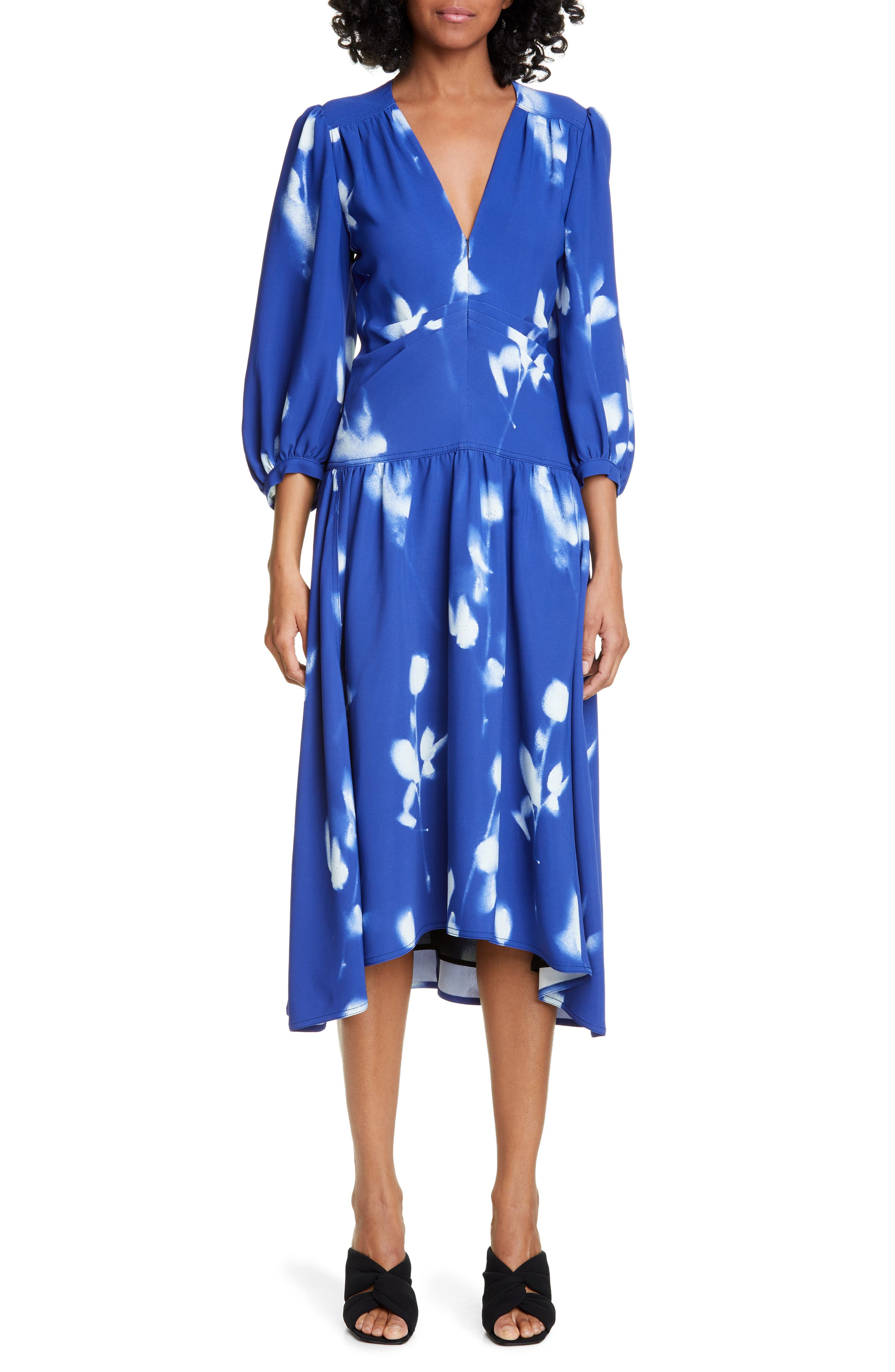 Proenza Schouler Print Cady Midi Dress, Blue