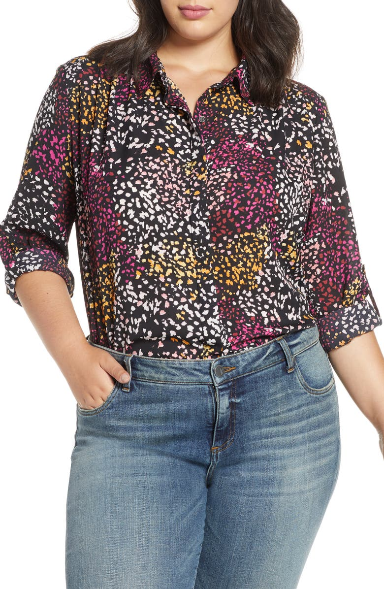 GIBSON x City Safari Animal Jaime Shrayber Print Long Sleeve Blouse, Main, color, SUNSET CHEETAH