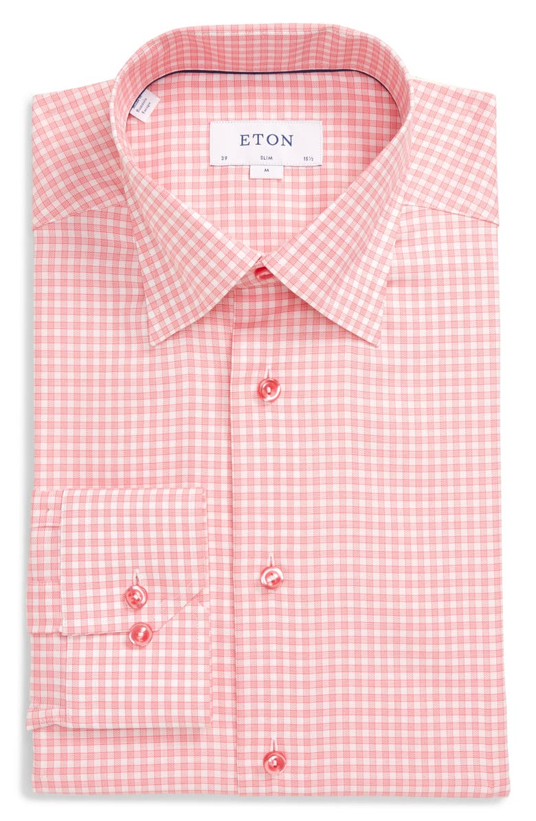 ETON Slim Fit Plaid Dress Shirt, Main, color, PINK
