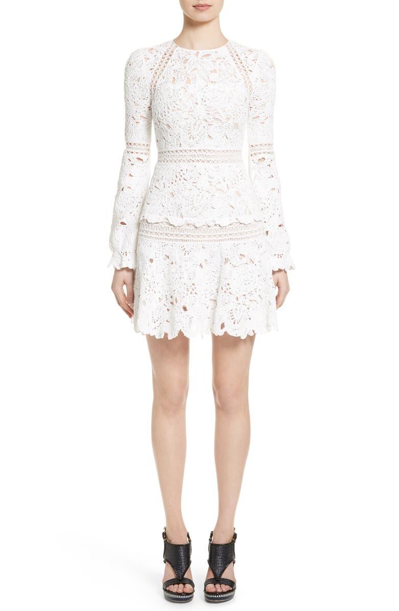 OSCAR DE LA RENTA Crochet Ruffle Dress, Main, color, 101