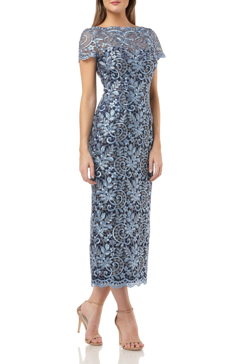 JS COLLECTIONS Metallic Scroll Embroidered Mesh Gown, Main, color, BLUE SILVER