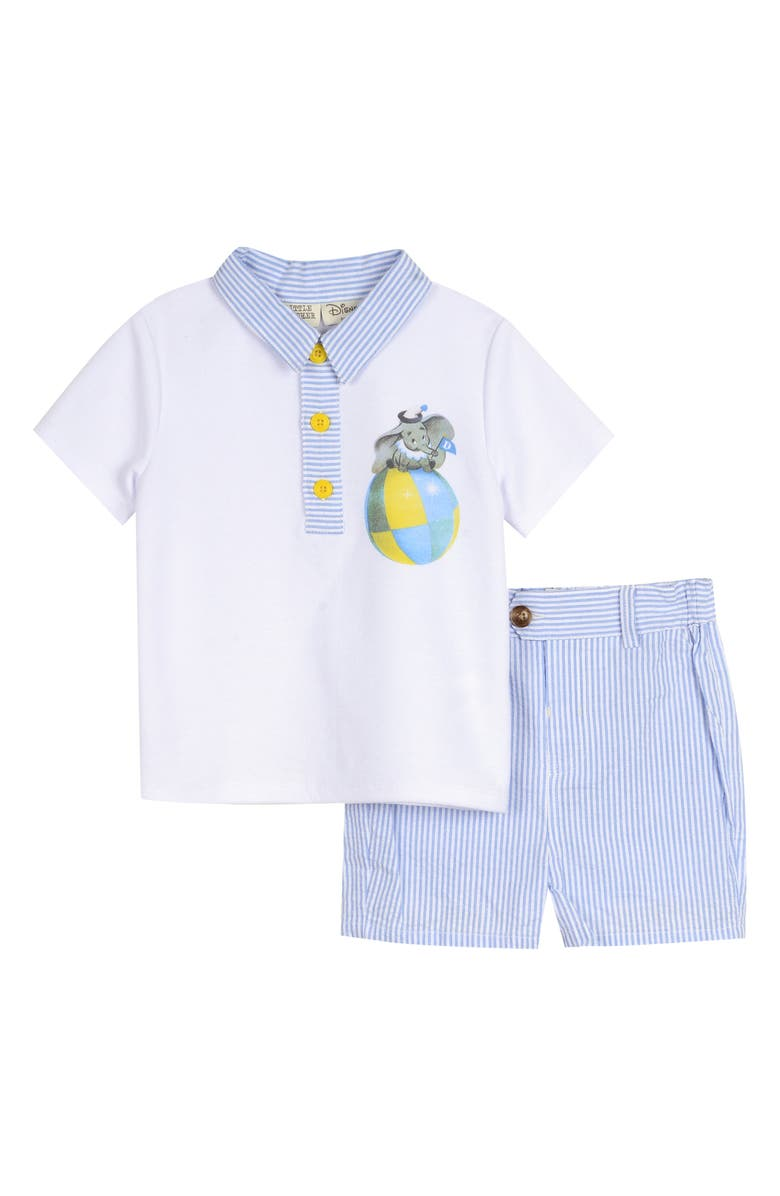LITTLE BROTHER BY PIPPA & JULIE x Disney Dumbo Polo & Shorts Set, Main, color, WHITE
