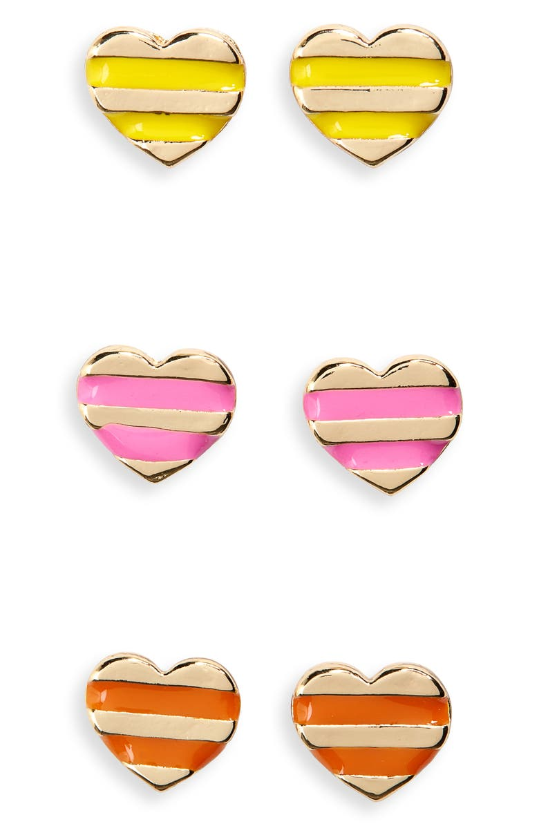 CARA 3-Pack Enamel Heart Stud Earrings, Main, color, GOLD MULTI