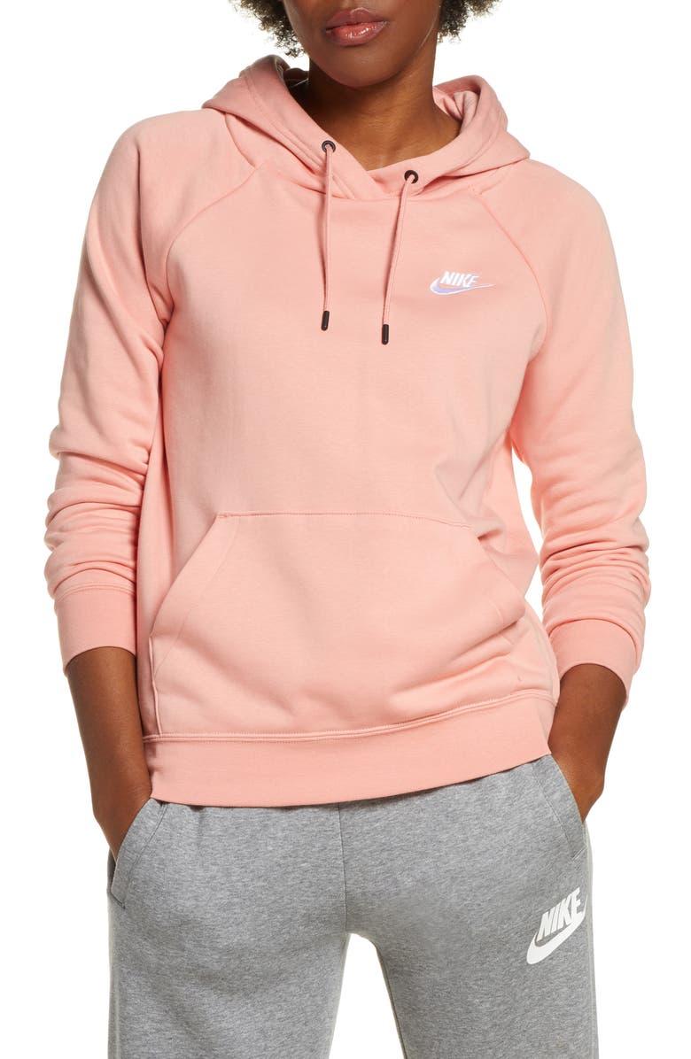 NIKE Sportswear Essential Pullover Fleece Hoodie, Main, color, PINK QUARTZ/ WHITE