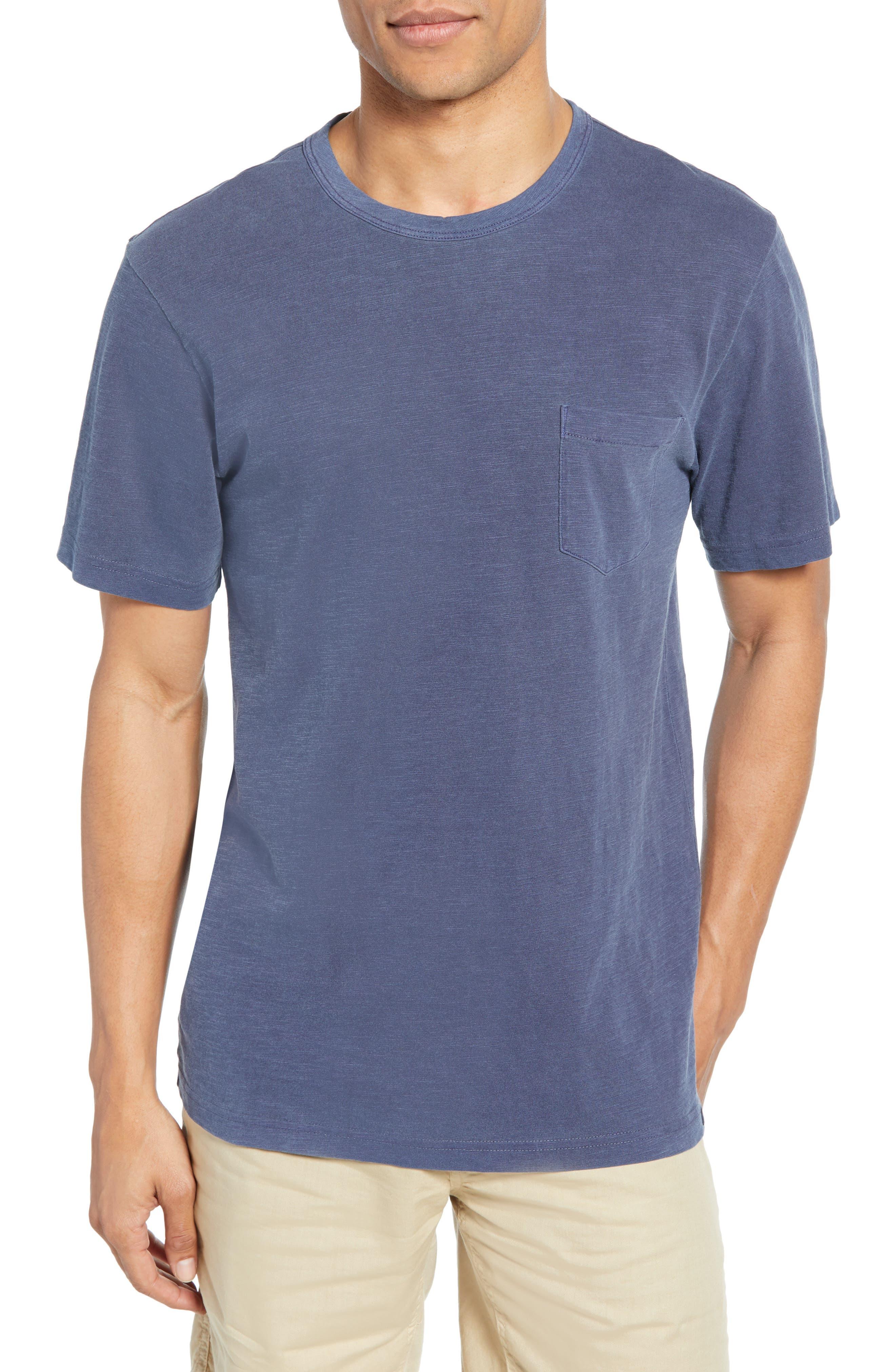 Faherty Sunwashed Regular Fit Pocket T-Shirt, Blue