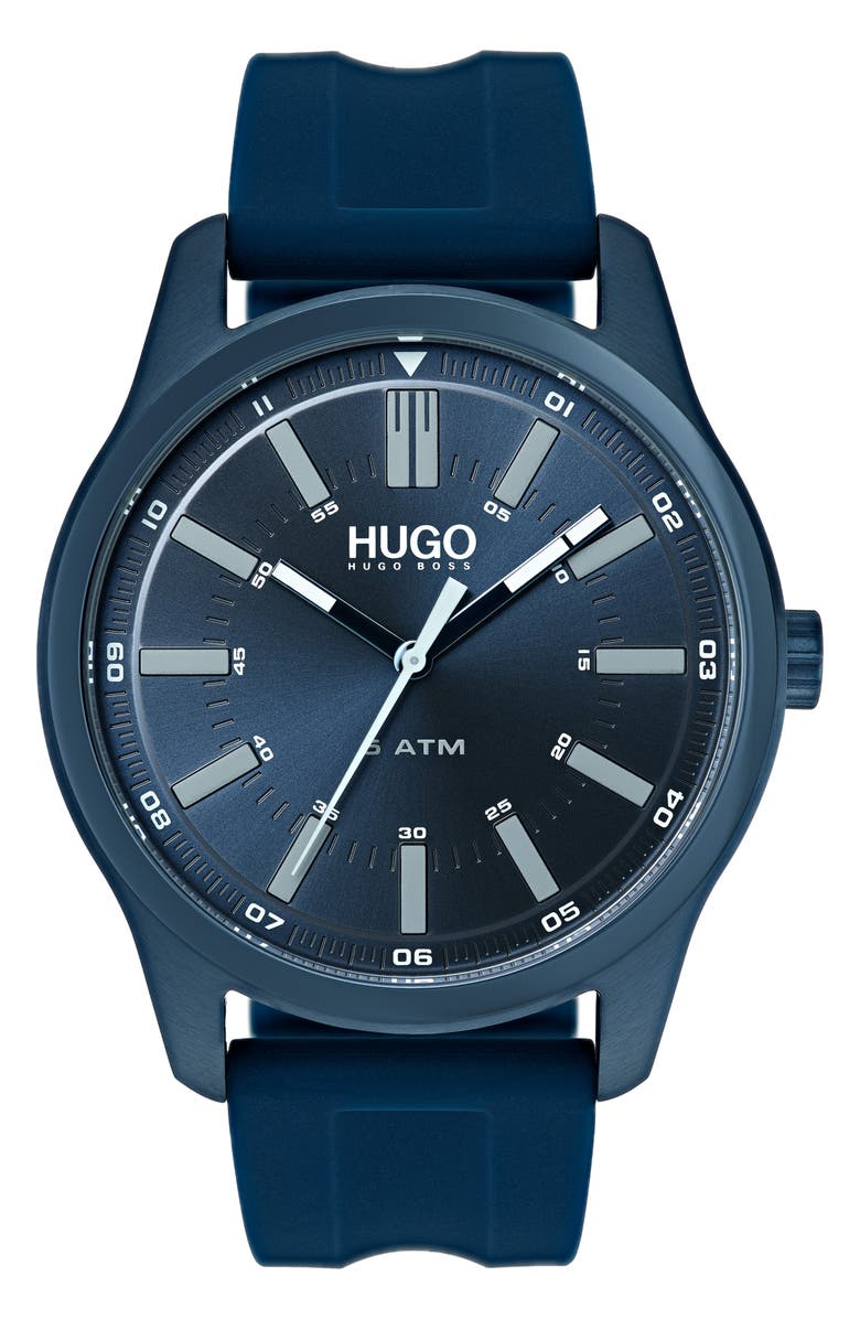 HUGO Silicone Strap Watch 44mm