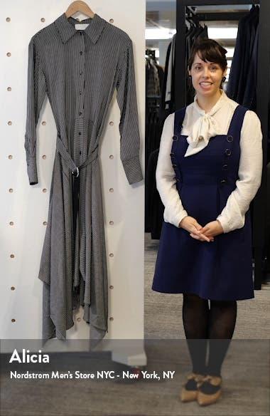 Directional Stripe Belted Long Sleeve Silk Shirtdress, sales video thumbnail