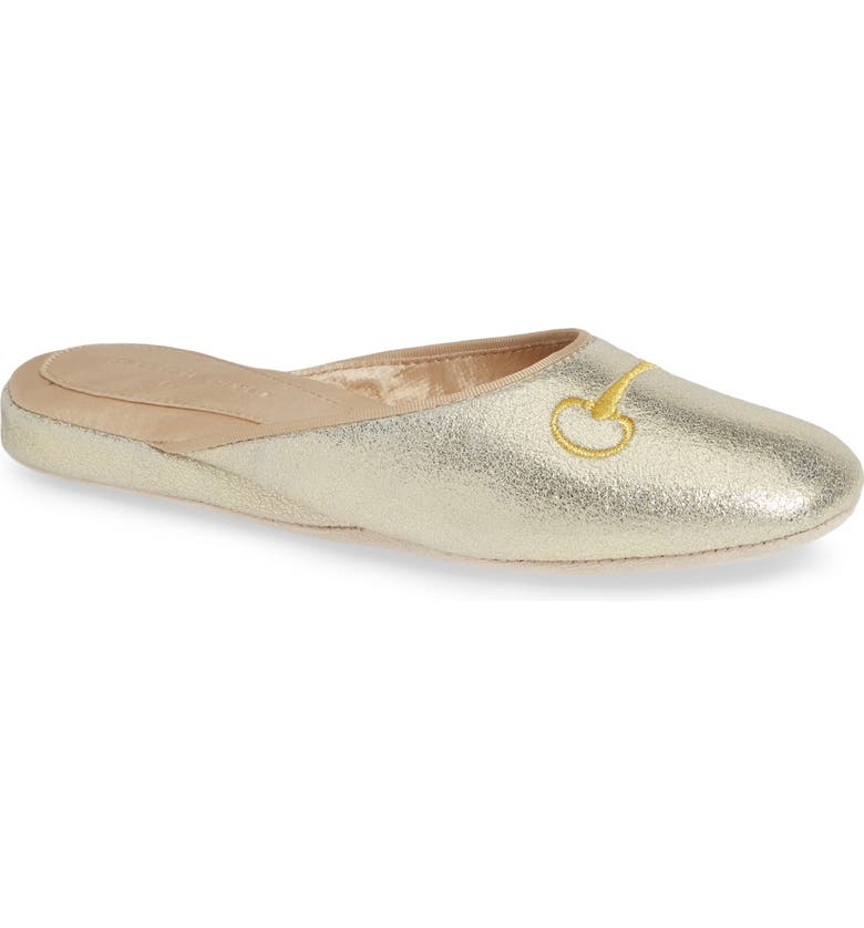 PATRICIA GREEN Milano Too Bit Embroidered Slipper, Main, color, GOLD SUEDE
