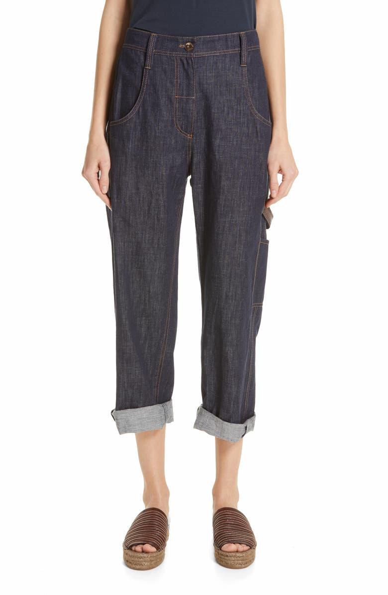 BRUNELLO CUCINELLI Crop Carpenter Jeans, Main, color, 400