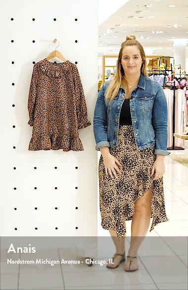 Leopard Print Ruffle Long Sleeve Dress, sales video thumbnail