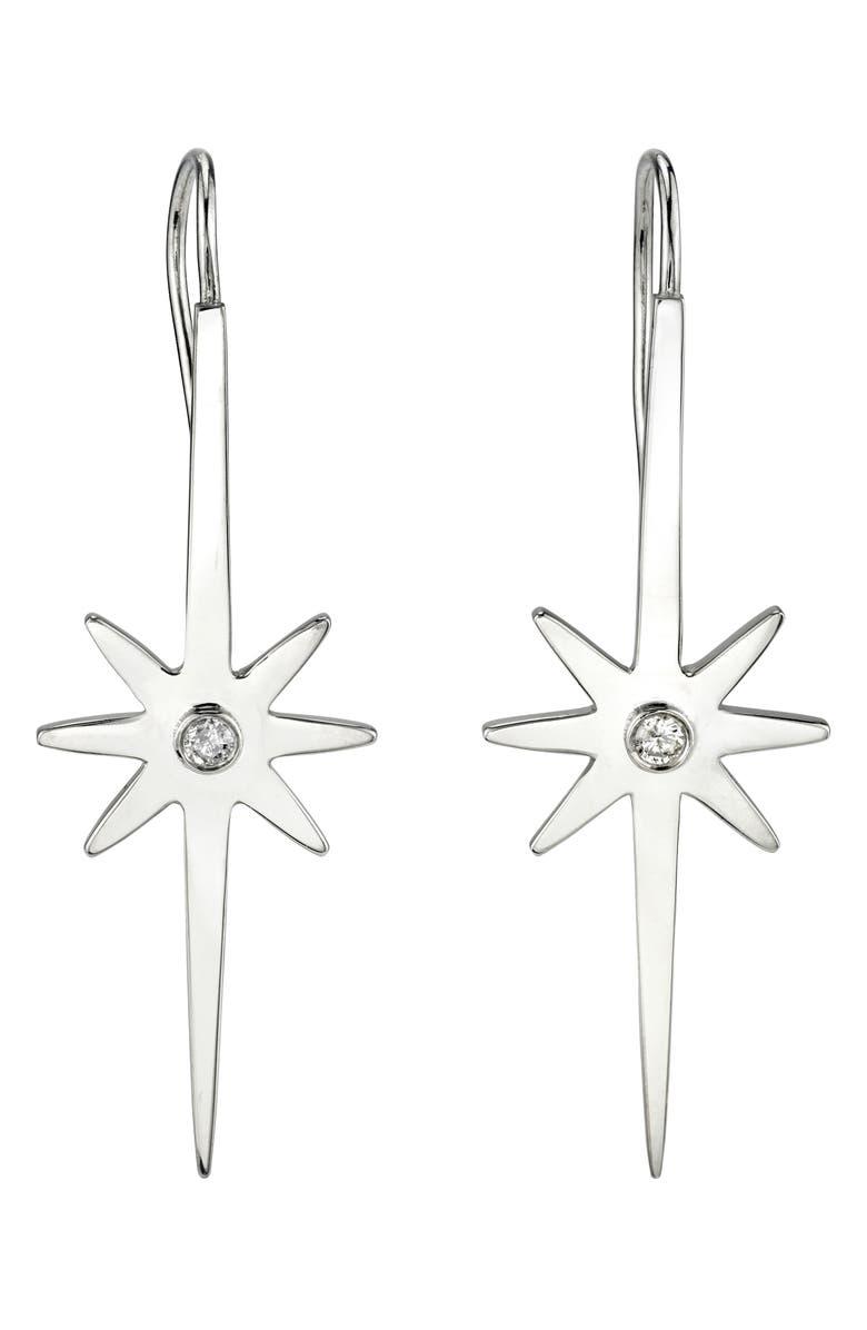 SHERYL LOWE Northstar Diamond Drop Earrings, Main, color, SILVER