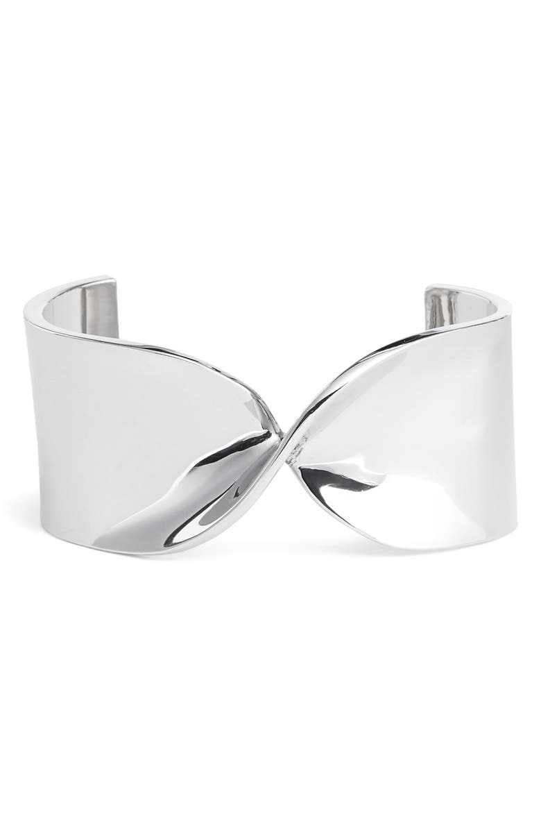 ST. JOHN COLLECTION Wide Twist Metal Cuff, Main, color, RHODIUM