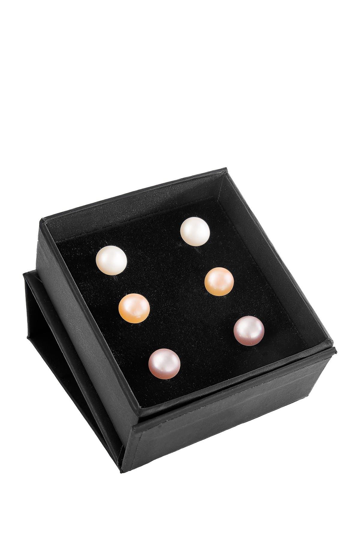 Image of Splendid Pearls Trio of Multicolored Freshwater Pearl Stud Earrings - Set of 3