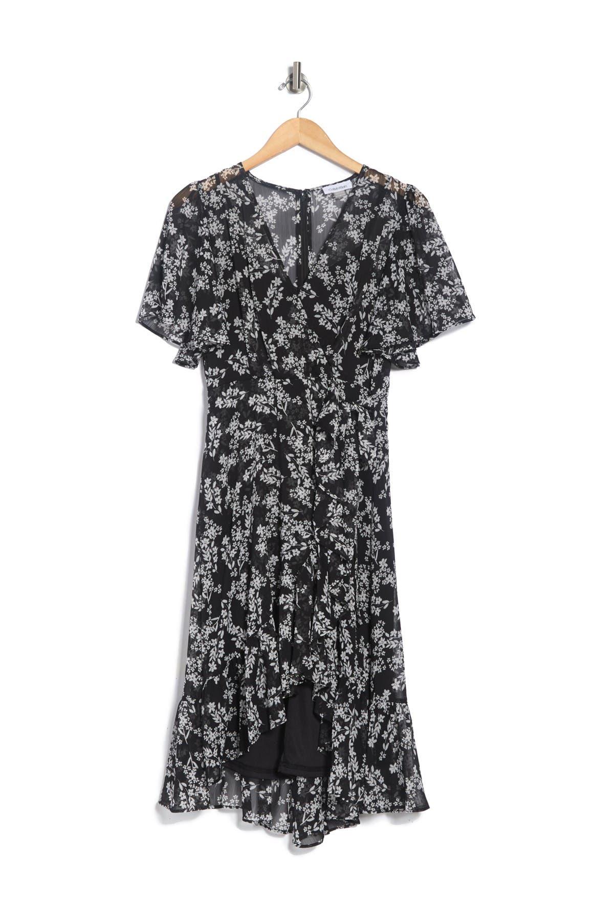 Image of Calvin Klein Ditsy Floral Waist Tie Dress