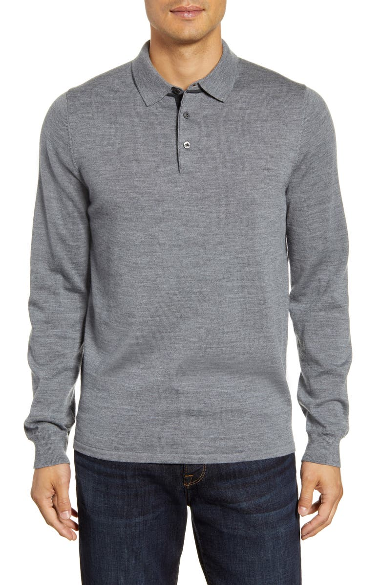 NORDSTROM MEN'S SHOP Merino Wool Polo Sweater, Main, color, GREY SHADE HEATHER
