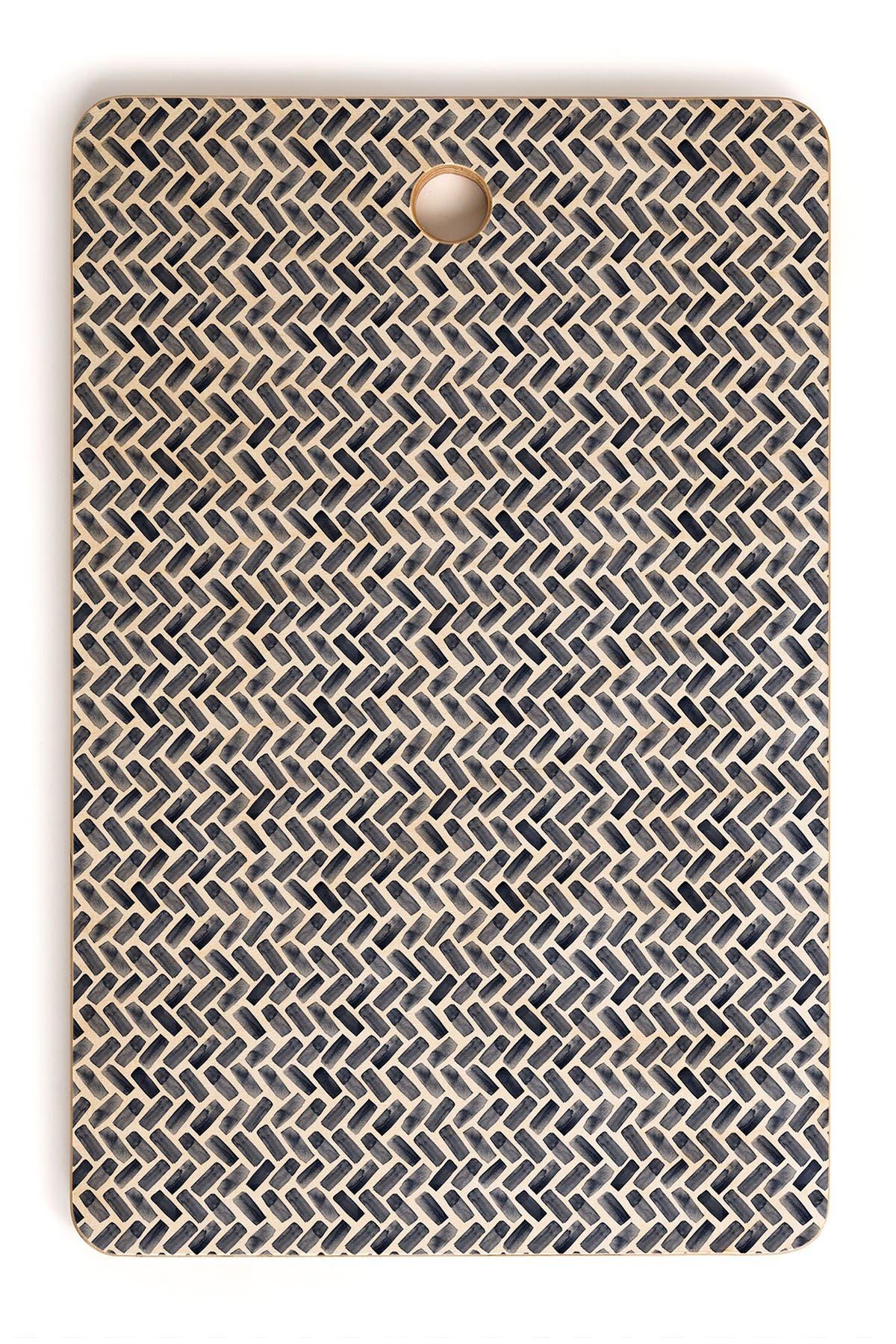 Image of Deny Designs Little Arrow Design Co Arcadia Herringbone In Indigo Rectangle Cutting Board