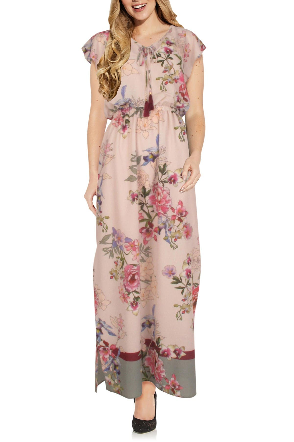 Image of Adrianna Papell Floral Border Maxi Dress