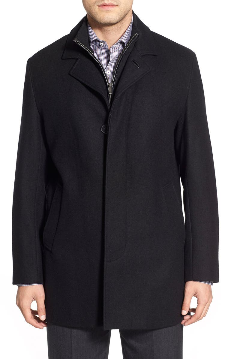 COLE HAAN Wool Blend Topcoat with Inset Knit Bib, Main, color, BLACK