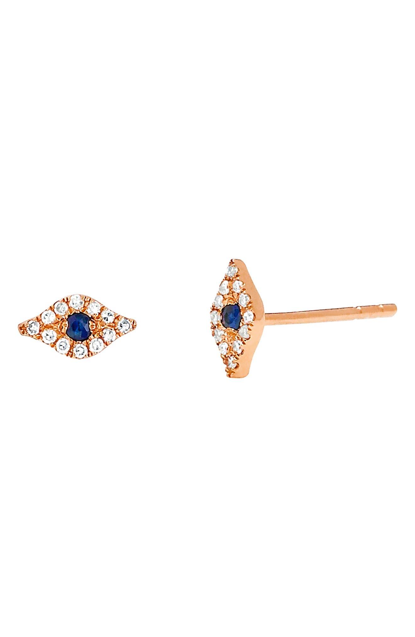 Evil Eye Diamond & Sapphire Stud Earrings