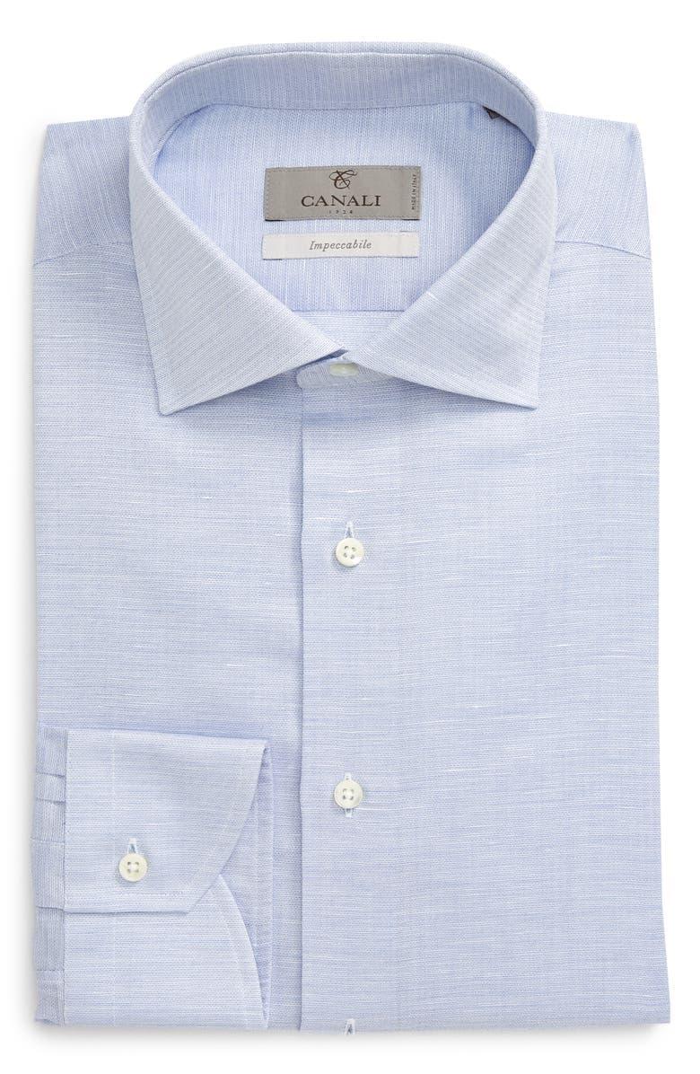 CANALI Regular Fit Geometric Dress Shirt, Main, color, BLUE