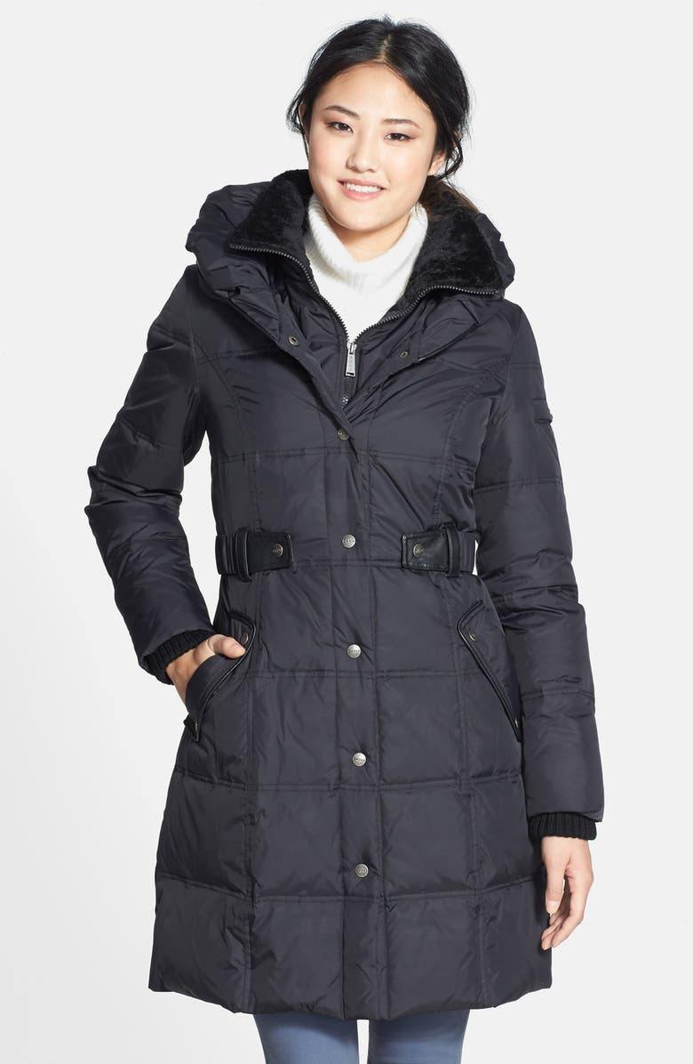 DKNY 'Faith' Front Insert Pillow Collar Quilted Coat, Main, color, 001