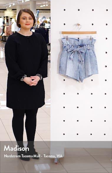 Belted Paperbag Waist Cutoff Denim Shorts, sales video thumbnail