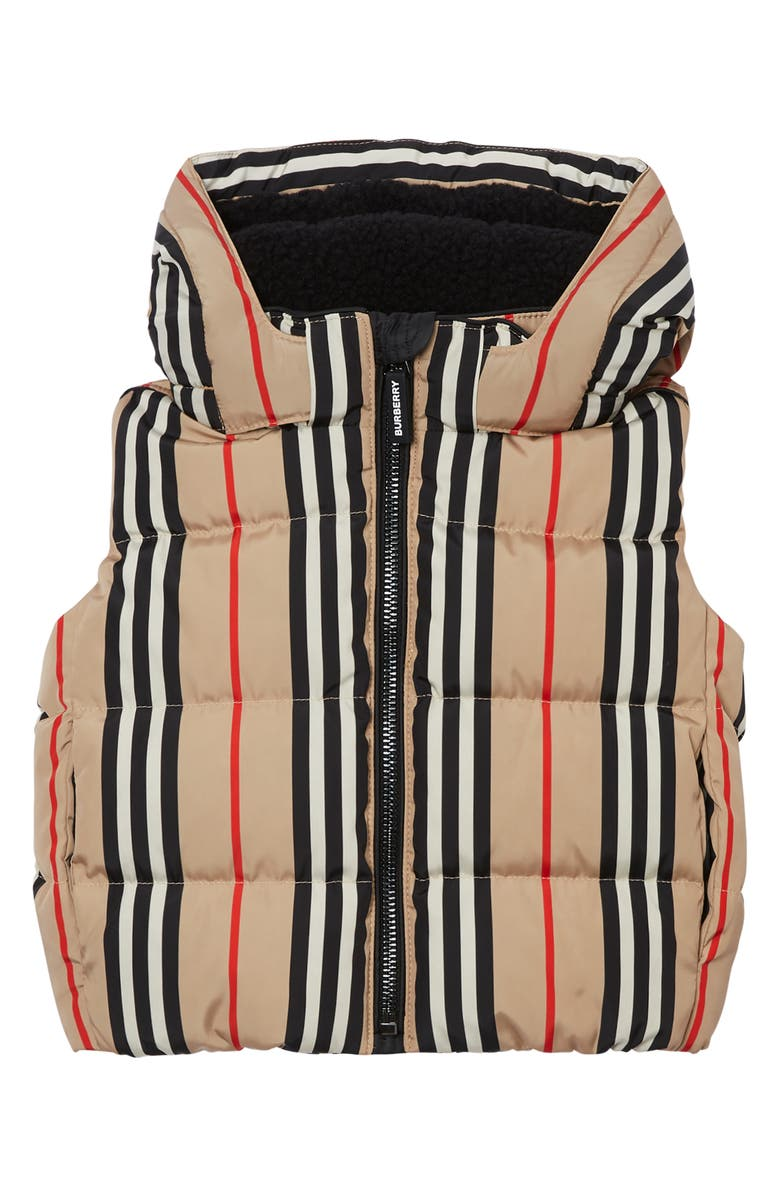 BURBERRY Leon Stripe Down Hooded Vest, Main, color, ARCHIVE BEIGE