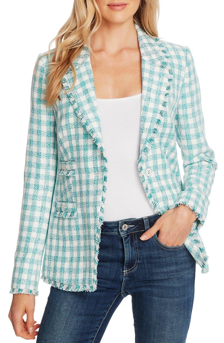 CECE Gingham Tweed Jacket, Main, color, SOFT ECRU