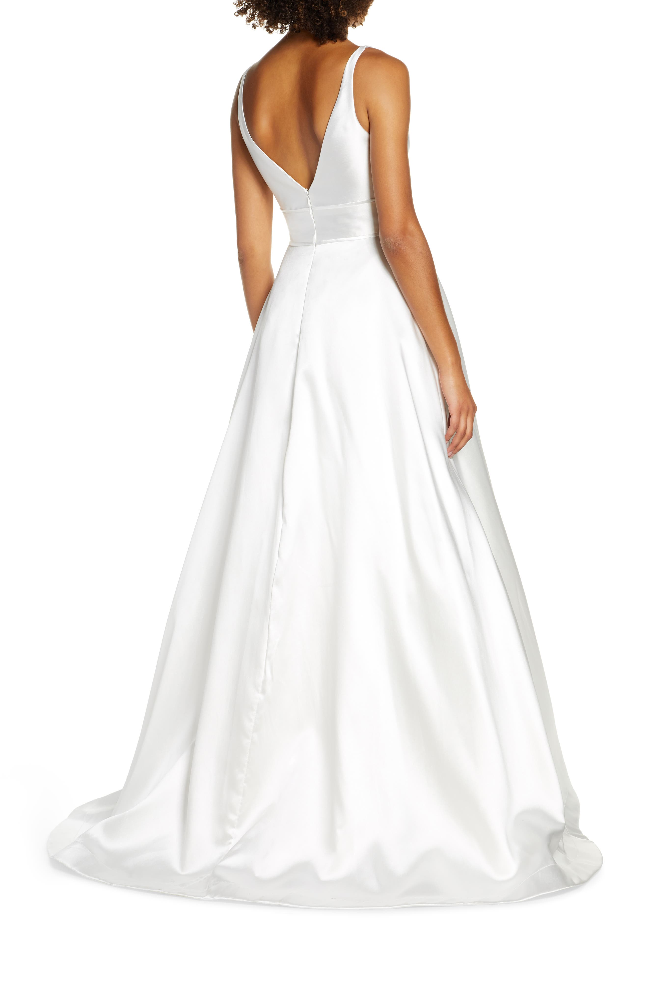 ,                             Plunging Sweetheart Neck Ballgown,                             Alternate thumbnail 2, color,                             WHITE