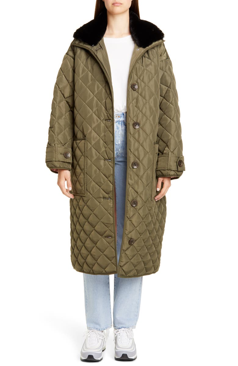 STAND STUDIO Marika Quilted Coat with Faux Fur Collar, Main, color, 300