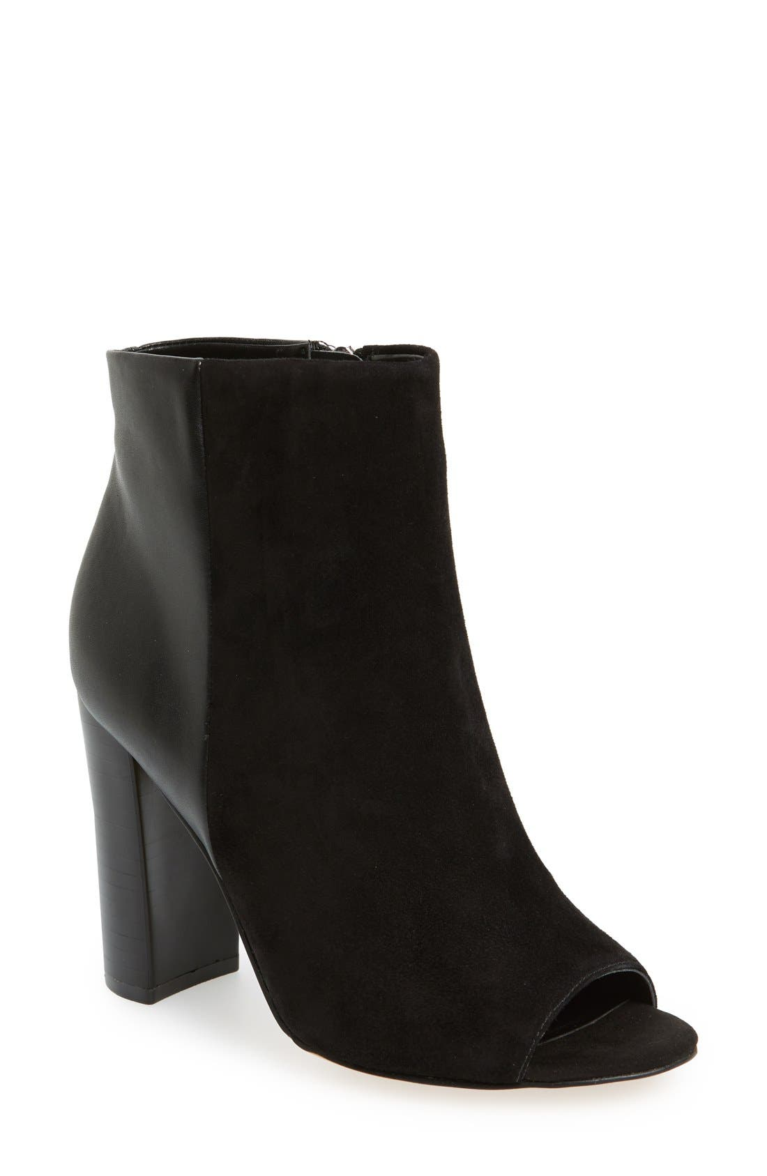 ,                             'Yarin' Open Toe Bootie,                             Main thumbnail 1, color,                             001
