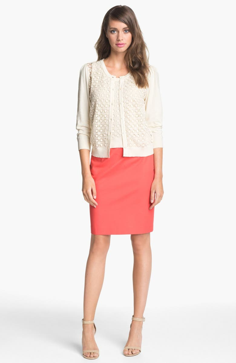 VINCE CAMUTO Lace Cardigan, Main, color, 900