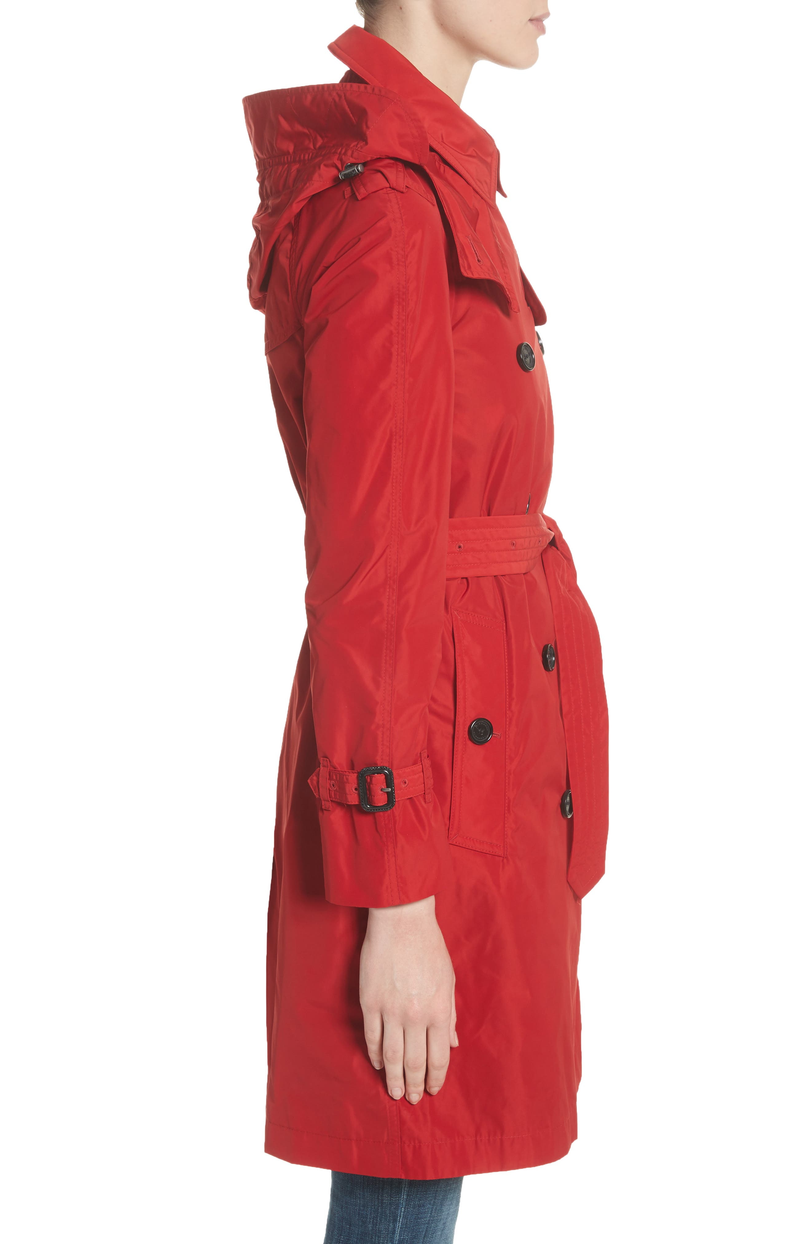 ,                             Amberford Taffeta Trench Coat with Detachable Hood,                             Alternate thumbnail 3, color,                             MILITARY RED