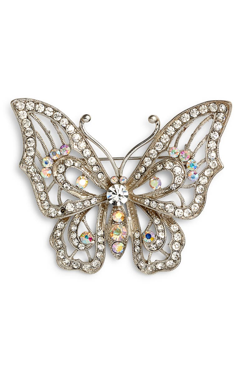 NINA Openwork Pavé Butterfly Brooch, Main, color, CRYSTAL/ SILVER