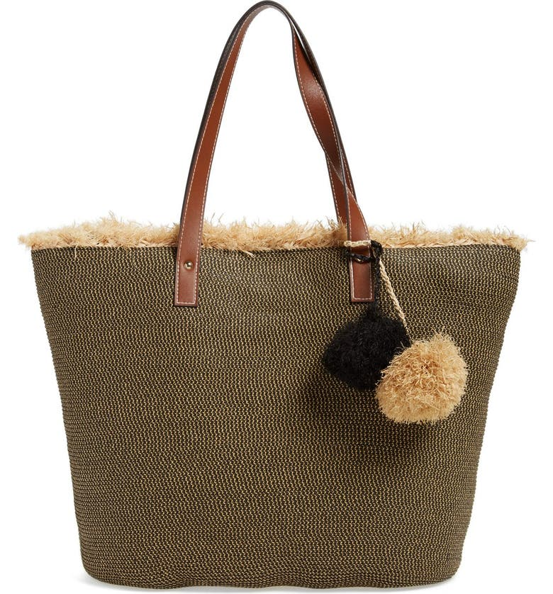 CASLON<SUP>®</SUP> Frayed Woven Straw Tote, Main, color, 001