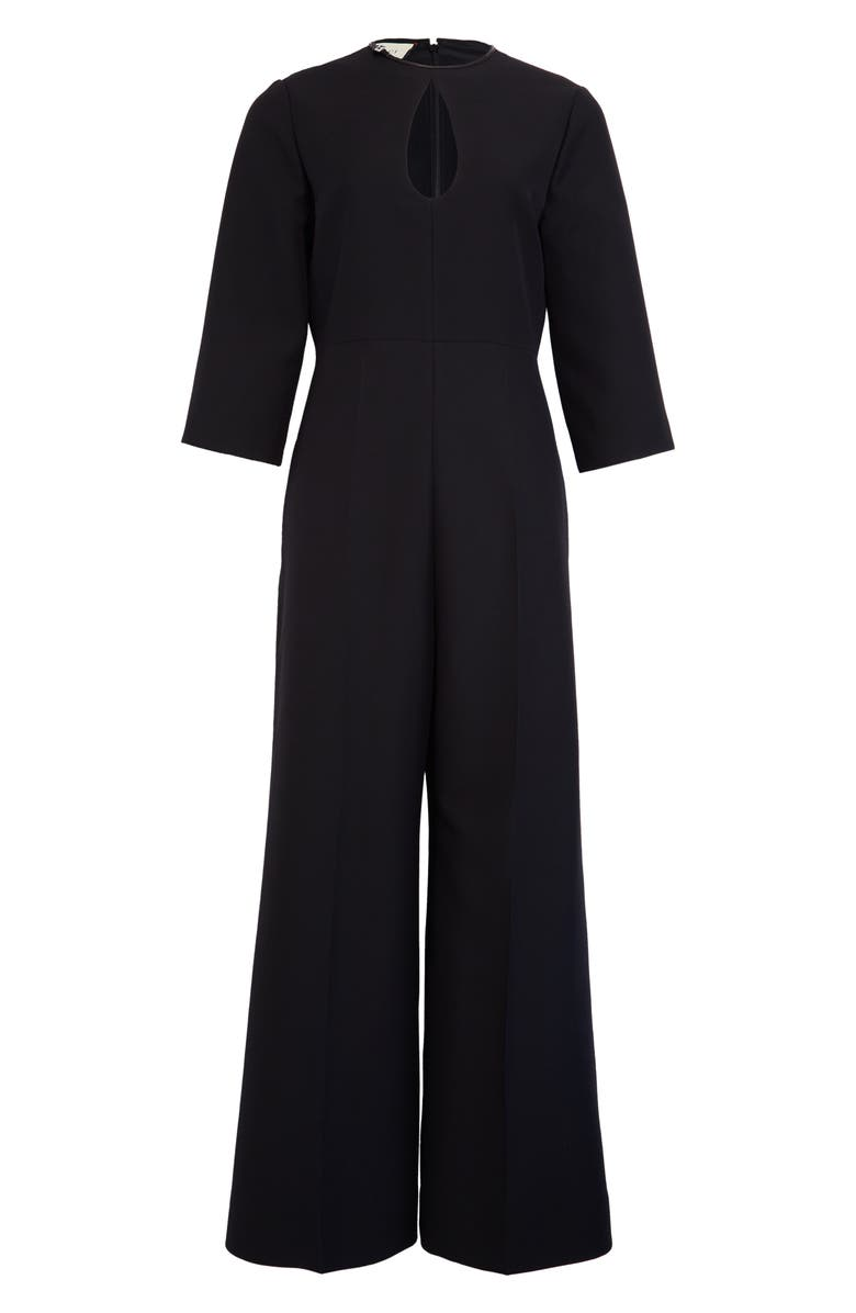 GUCCI Keyhole Wool & Silk Crepe Cady Crop Jumpsuit, Main, color, 001