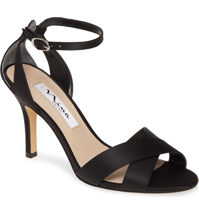 NINA Ankle Strap Sandal, Main, color, BLACK SATIN