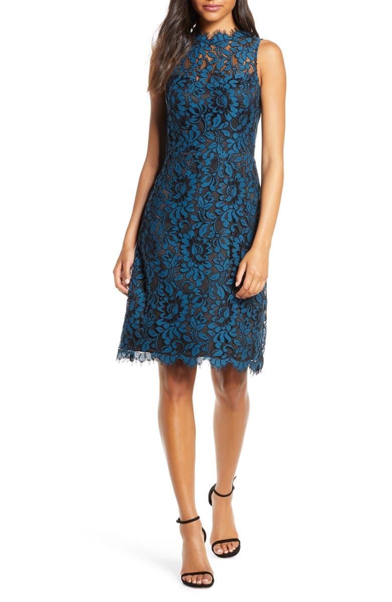 ELIZA J High Neck Lace Sheath Dress, Main, color, PEACOCK