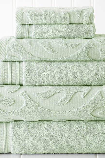 Image of Modern Threads Jacquard Medallion Swirl Solid 6-Piece Towel Set - Soft Jade