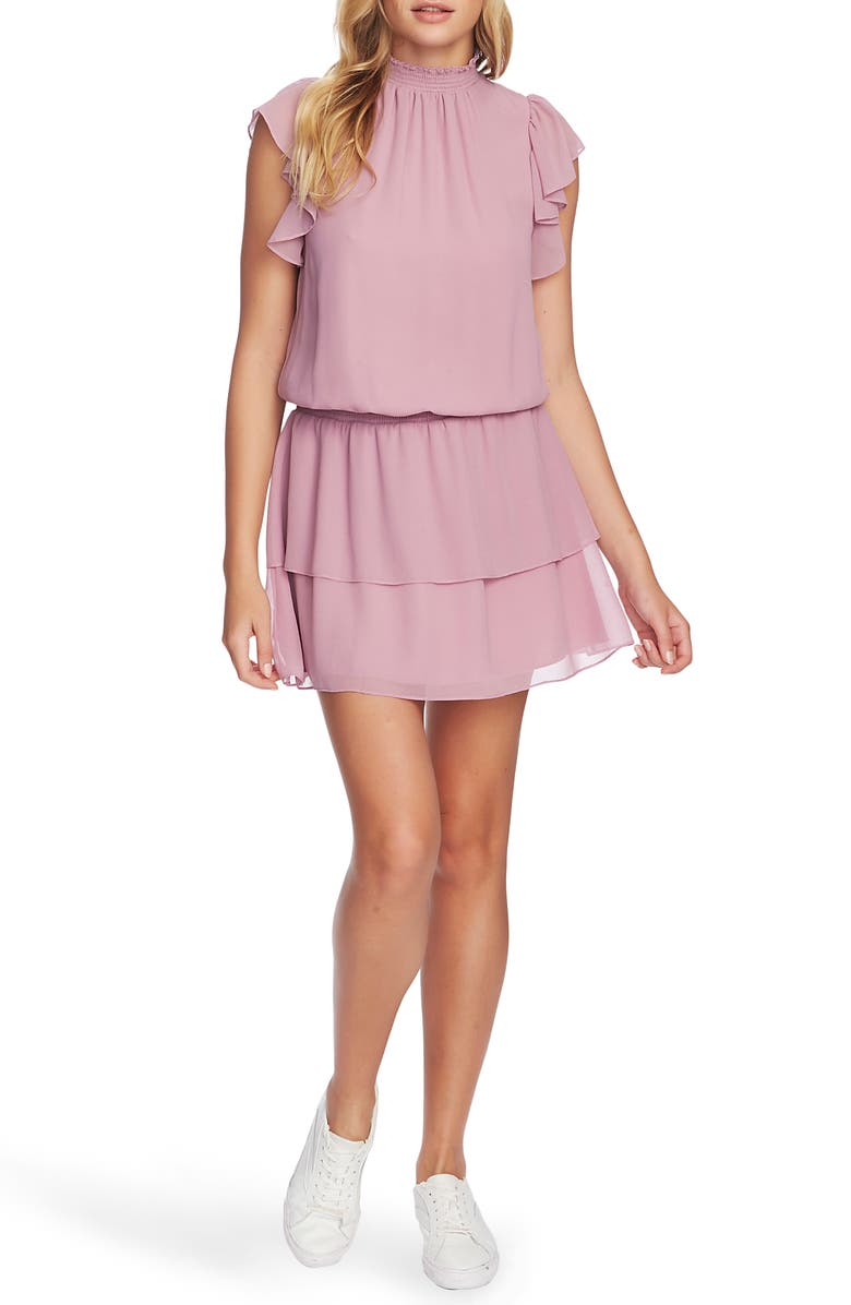 1.STATE Flutter Sleeve Dress, Main, color, ANTIQUE ROSE
