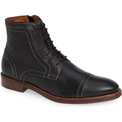 Johnston & Murphy Warner Cap Toe Boot, Black