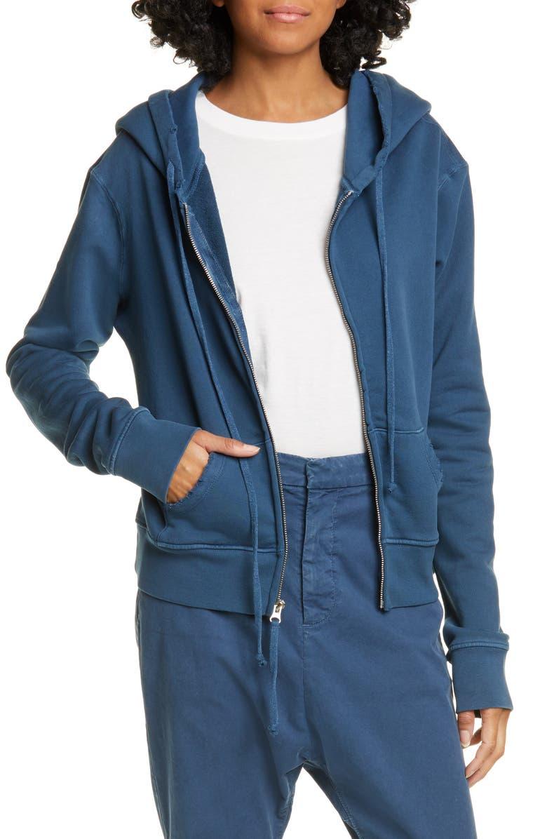 NILI LOTAN Callie Zip-Up Hoodie, Main, color, VINTAGE BLUE