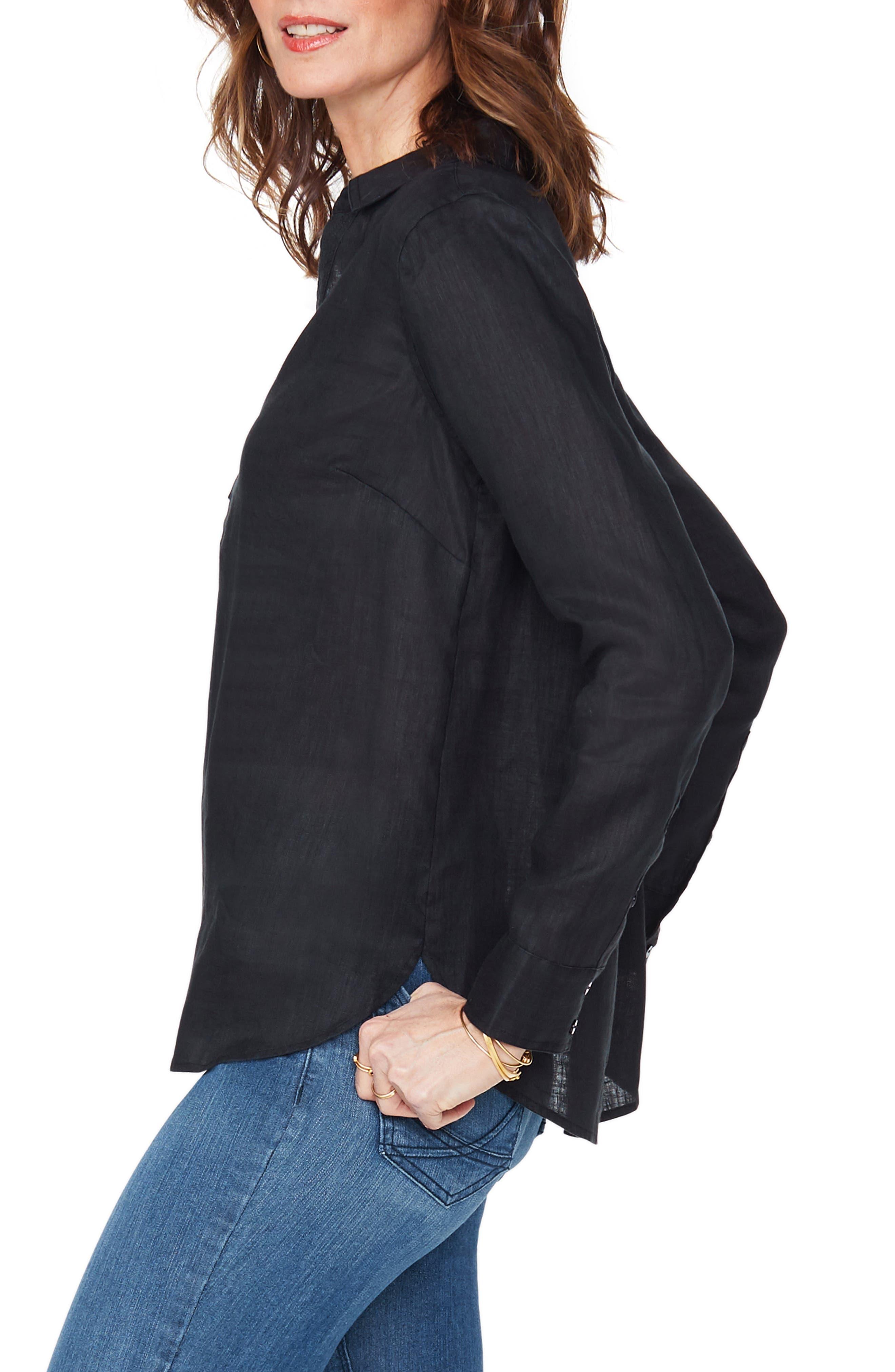 ,                             Linen Tunic,                             Alternate thumbnail 3, color,                             BLACK