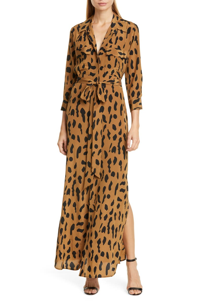 boy arrives beautiful style L'AGENCE Leopard Print Silk Maxi Shirtdress | Nordstrom
