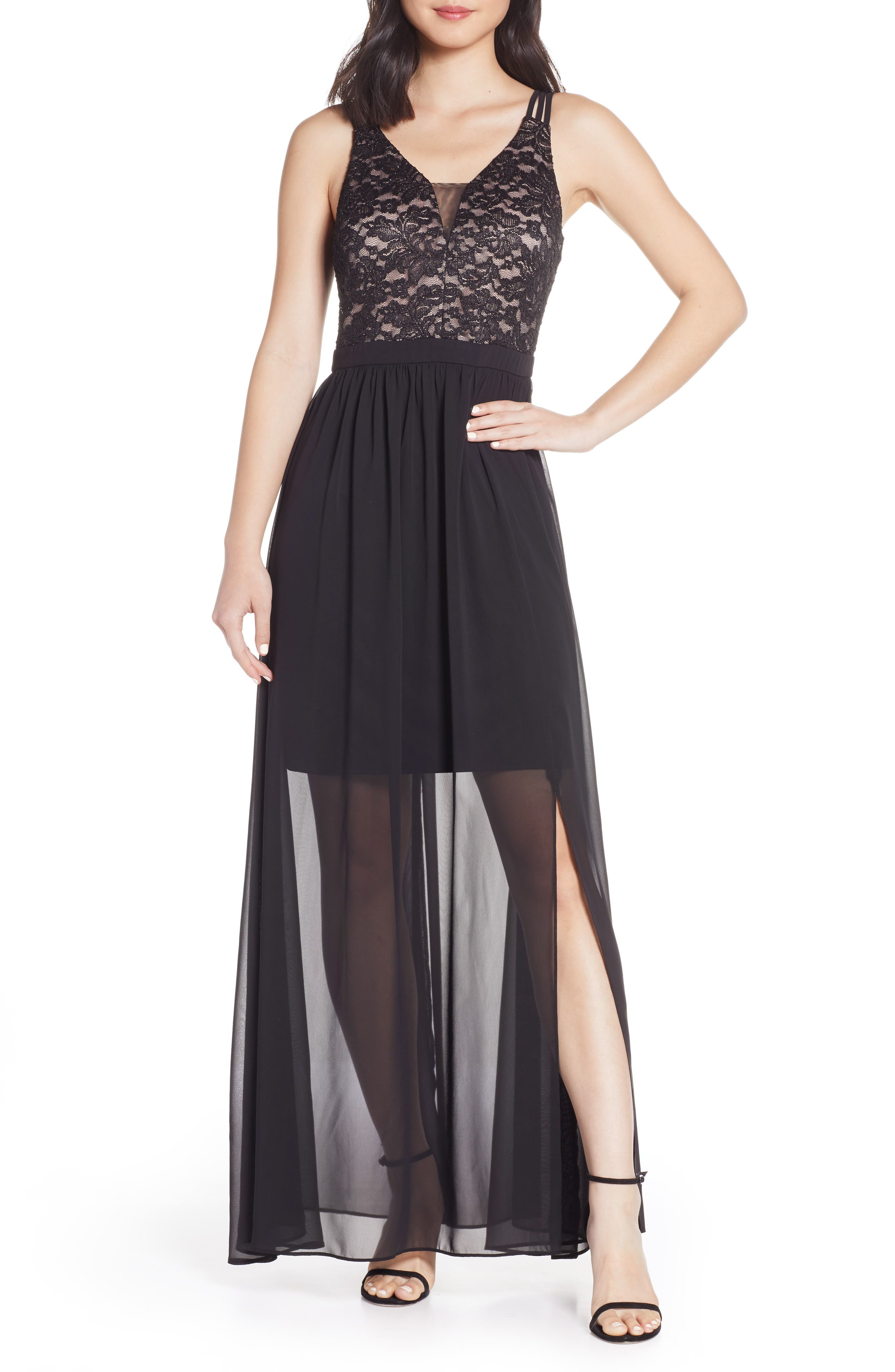 ,                             Strappy Lace Bodice Chiffon Gown,                             Main thumbnail 1, color,                             BLACK/ NUDE