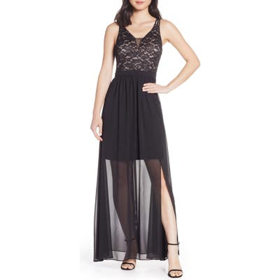 Morgan & Co. Strappy Lace Bodice Chiffon Gown, Black