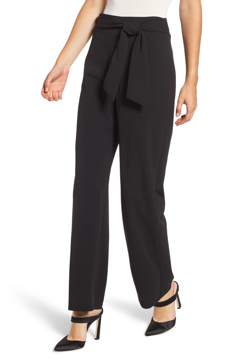 SENTIMENTAL NY Techno Crepe Wrap Pants, Main, color, BLACK SOLID