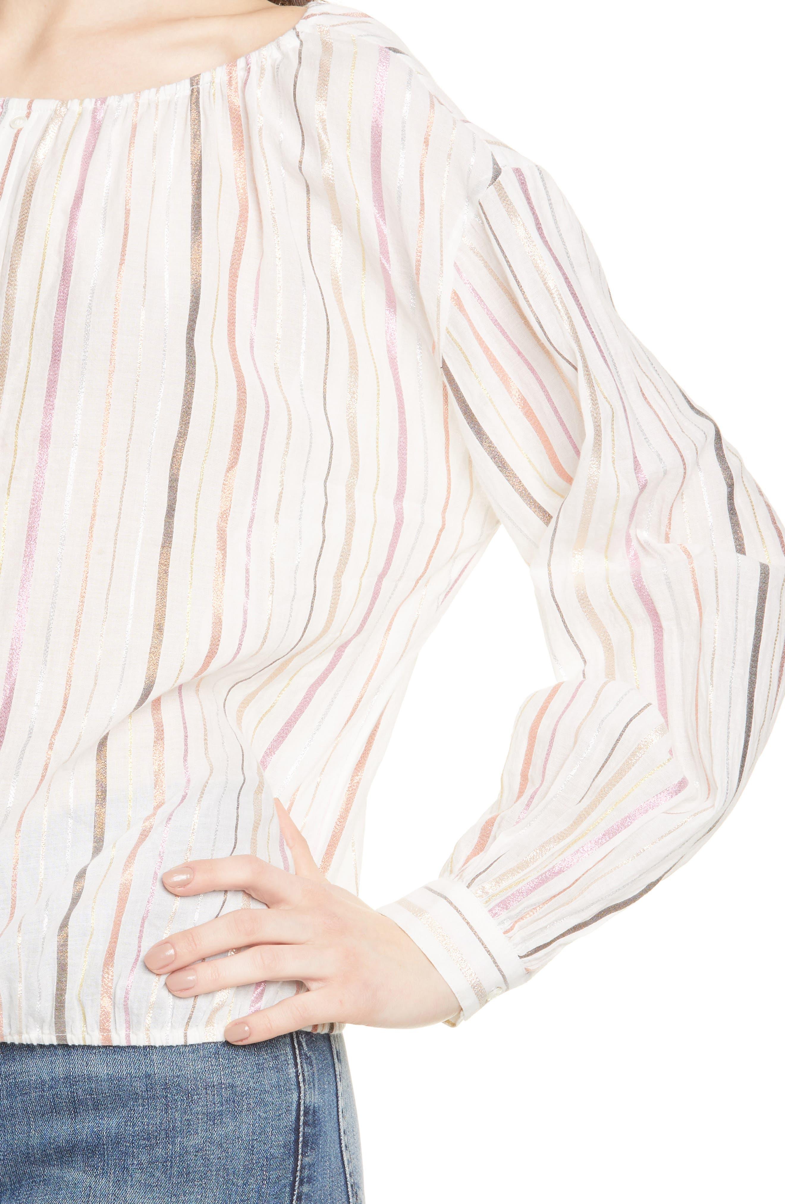 ,                             Satomi Shimmer Stripe Blouse,                             Alternate thumbnail 4, color,                             PORCELAIN