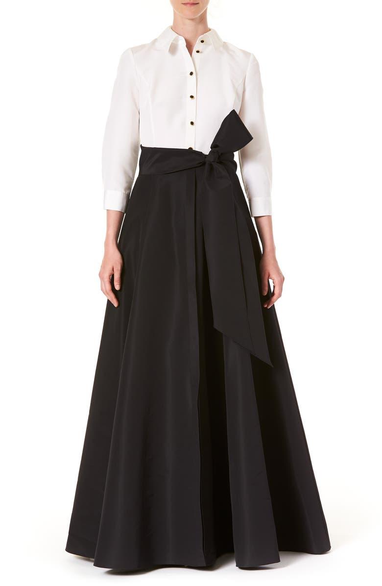 CAROLINA HERRERA Icon Two-Tone Taffeta Trench Gown, Main, color, WHITE/ BLACK