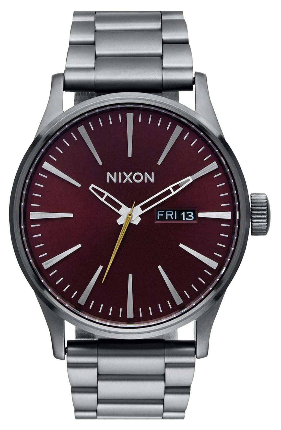 Sentry Bracelet Watch, 42mm, Main, color, GUNMETAL/ DEEP BURGUNDY